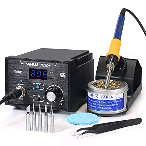 Yihua 939D+ Digital Soldering Station, 75W Equivalent with Precision Temp Control (392°F to 896°F) and Built-in Transformer.ESD Safe, Lead Free with °F /°C display. Includes 5 Solder Tips& 3+ Extras