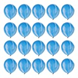 BestMall 20 Pieces Marble Balloons Party Latex Swirl Super Agate Balloons Wedding Engagement Birthday Decoration - Blue, as described -