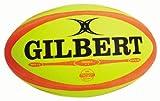 Gilbert Omega Ballon de Rugby de Match pour Homme Fluoro Taille 5