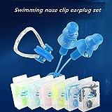 FLZONE Nasenklammer Schwimmen,6 Stück Silikon Ohrstöpsel und Nasenclip-Set,Wasserdichter Nasenclip-Silikon zum Schwimmen oder Schlafen (6 Farben) - 2