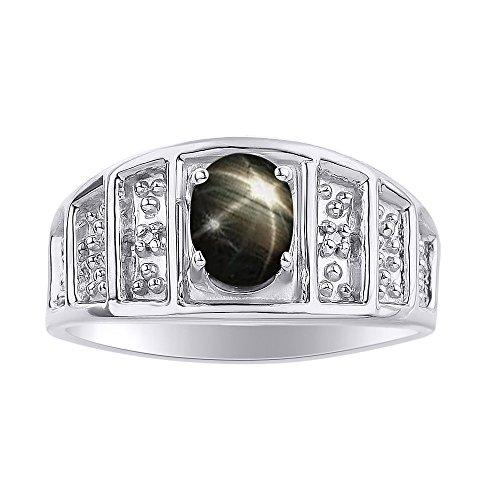 Juego de anillos de zafiro de estrella negra y diamante en oro blanco de 14 quilates – piedra de color piedra de nacimiento anillo