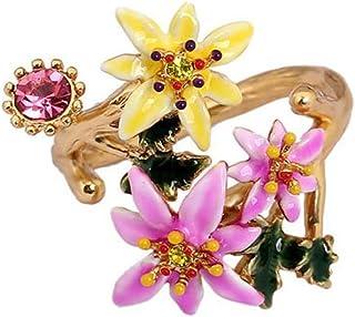 Lozse Anelli regolabili Donna anello diamante fiore apertura