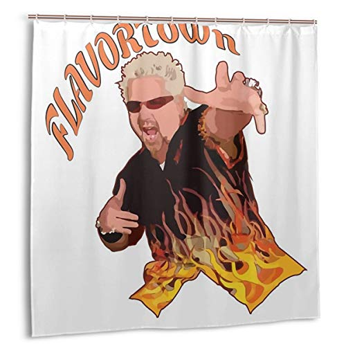 Casy Teey Guy Fieri Flavortown Boutique Shower Curtain Hooks Polyester Home Decor 72x72inch