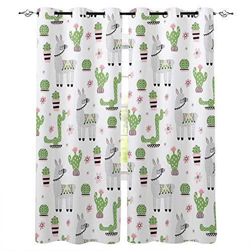 LWXBJX Cortinas Modernas Salon Opacas Dormitorio Modernos - Blanco Dibujos Animados Animal Planta - Impresión 3D Aislantes de Frío y Calor 90% Opacas Cortinas - 200 x 160 cm - Salon Cocina Habitacion