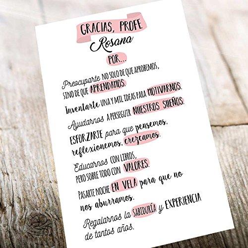 Calledelregalo Regalo Personalizable para Profesores y profesoras: lámina 'Gracias, profe' Personalizada con su Nombre (Texto Rosa)