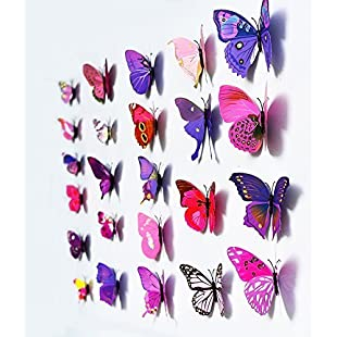 3D Butterfly 12PCS Stickers Making Stickers Wall Stickers Crafts Butterflies (Purple) by UK DEALS:Porcelanatoliquido3d