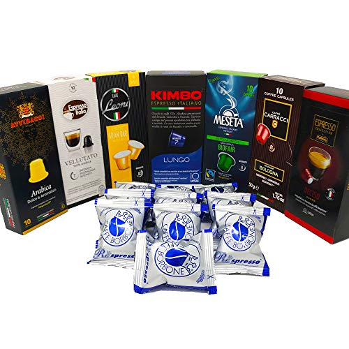 Nespresso Compatible Capsules Italian Multi-Brand Variety Pack - Best Bundle Collection of Medium Roasts of Espresso Pods from Italy - 80 Pack