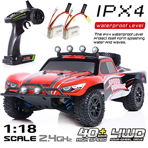 EXERCISE N PLAY RC Car, Remote Control Car, Terrain RC Cars, Electric Remote Control Off Road Monster Truck, 1:18 Scale 2.4Ghz Radio 4WD Fast 30+ MPH RC Car, with LED Ligh, 2 Rechargeable Batteries