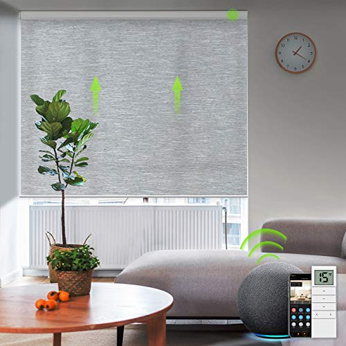 Yoolax Motorized Roller Shades Cordless Half-Shading Free-Stop Roller Blinds Rechargeable Window Blinds Work with Alexa Customized Size (Foggy Grey)