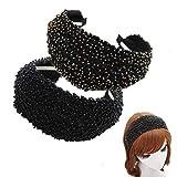 KizBruo 2 piezas Diadema con cuentas de Bohemia, Banda de pelo hecha a mano vintage de moda Diadema Retro Accesorios para el cabello para mujer niña(A-2PCS)