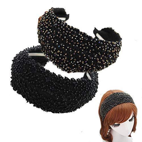 KizBruo 2PCs Böhmisches Perlen Stirnband, Mode Vintage handgemachte Haarband Retro Stirnband Haarschmuck für Frauen Mädchen