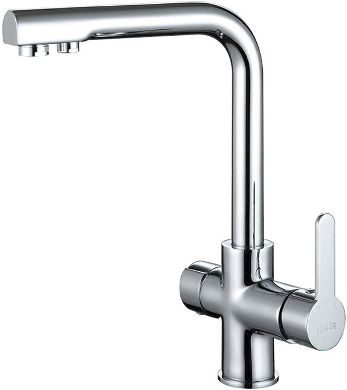 QXHELI Hahn Kupfer Wasserhahn Küche warmes und kaltes Wasser Waschbecken Wasserhahn mit reinem Wasser aus dem Waschbecken doppelten Zweck Drehbar