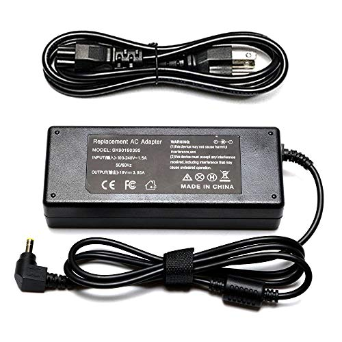 19V 3.95A 75W AC Adapter Laptop Charger Compatible with Toshiba Satellite C50 C55 C55D C75D C875 C675 C655 C850 C655D C855D L505 L555D P755 L645 L655 L675 L750 L755 L855 L875D A200 Power Supply Cord