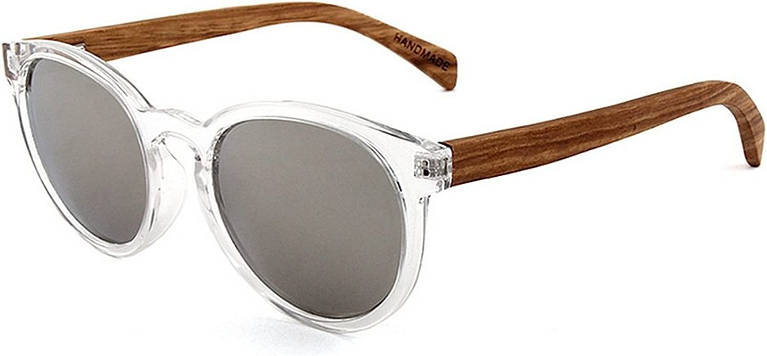 Sunglasses for Driving Running Cycling Handcraft Vintage Round UnisexAdult Polarized Wood Sunglasses colord TAC Lens UV Predection for Men Women for Mens and Womens (color   Silver)