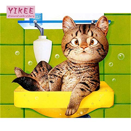 DIOPN 5D DIY Diamond Painting kat cartoon kat volledige boor vierkant cartoonplaat (ronde diamant 30 * 40) 30 * 40