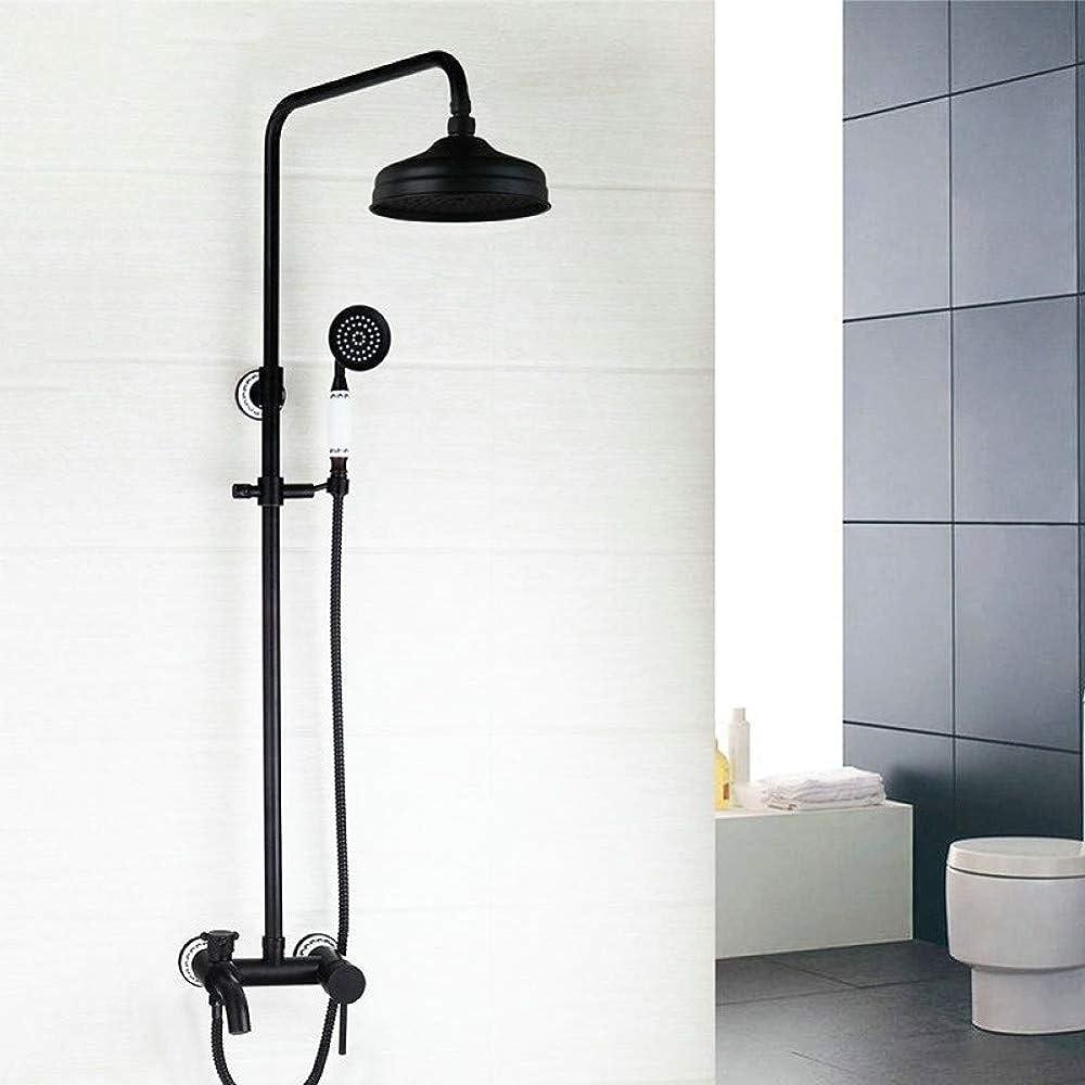 くるみ建設百年Luckya ブラックウォールマウント降雨8インチハンドハンド2つの機能サーモスタット手持ち浴室のシャワーの蛇口のミキサーのタップスプレー