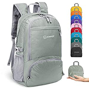 ZOMAKE 30L Lightweight Packable Backpack Water Resistant Hiking Daypack,Small Travel Backpack Foldable Camping Outdoor Bag Grey