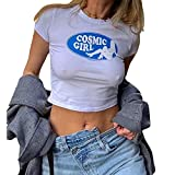 Photo de soweilan Cosmic Girl T-shirt court à manches courtes pour femme Motif lettres - Blanc - X-Large
