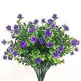 Ymwave 4 Pièces Plastique Arbustes Artificiels Fleurs d'herbe de Milan Arbustes de Verdure Artificiels pour Ornement de Rebord de Fenêtre Cuisine Jardin Salle de Bains - Violet