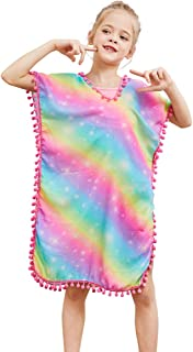 QtGirl Cover Up for Girls Swimsuit Cover Ups, Bathing Suit Beach Dress Cover-Up V-Neck with Tassel for Kids Girls Summer