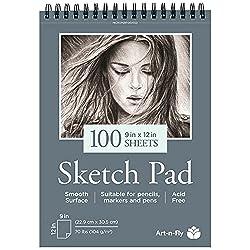 cheap 100 sheets, 9 x 12 inches, smooth drawing pad, pencil, pen, marker, drawing, coloring …