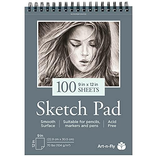 100 vel A4 Schetboek met Zachte Structuur voor het tekenen met potloden, Pennen, markers Schetsblok spiraalgebonden