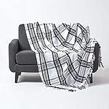 Homescapes Tagesdecke mit Tartan-Muster, Sofa- & Sessel-Überwurf 150 x 200 cm mit Fransen, weiche Wohndecke aus 100prozent Baumwolle, Schottenmuster, schwarz-weiß kariert