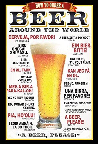 Schatzmix Bier bestellen in 21 talen zwarte rand metalen bord wanddecoratie 20x30 tin sign blikken bord, meerkleurig