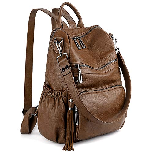 UTO Women Backpack Purse PU Washed Leather Convertible Ladies Rucksack...