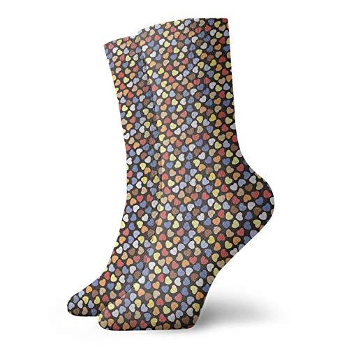 Calcetines suaves de media pantorrilla, románticos inspirados en el día de San Valentín, símbolos de amor, ilustración de estilo garabateo, calcetines para mujeres y hombres, ideales para correr