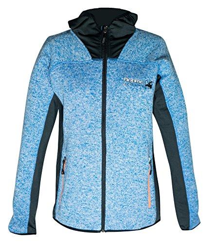 DEPROC-Active Strick Fleecejacke ELMVALE winddicht und atmungsaktiv Jacket Femme, Bleu/Blanc, 42