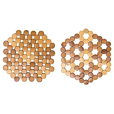 Bamboo Trivet Set For Hot Pots Pans and Pressure Cookers 2 Piece Wooden Stand By TOFL (2, 66 round)