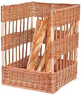 e-wicker24 Panier à baguettes en osier Jaune miel 45 x 45 x 60 cm