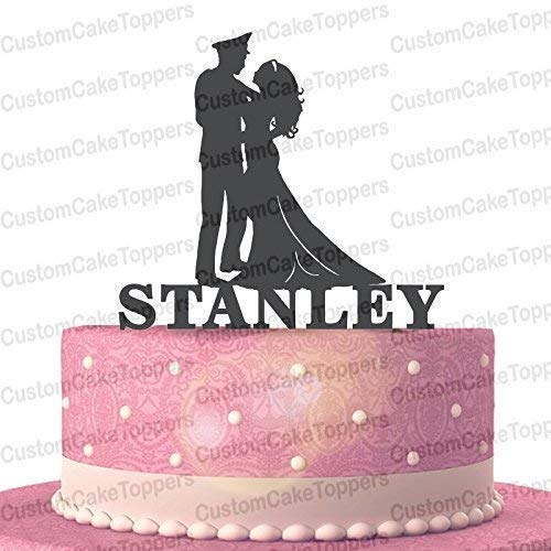 Military Groom and Bride Wood/Acrylic Wedding Cake Topper Custom Personalized with Last Name