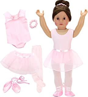 5 Pc Ballerina Set for 18 Inch Dolls | Set Includes Leotard, Tights, Slippers, Skirt and Hair Accessory