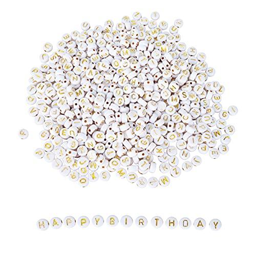 GUBOOM Acrilico Lettera Perline Ca 1000 Pezzi 4x7mm Perline Alfabeto Rotondo, Alfabeto In Oro Bianco Acrilico Perline Per Gioielli Diy, Collana, Ciondolo Bracciali Per Ragazze (Bianco)