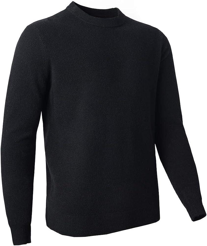 Zhili Men's Classic Solid Color Cewneck 100% Merino Wool Sweater(5 Colors)