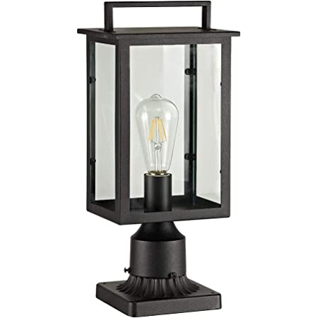 Amazon Com Smeike Outdoor Post Light Fixtures 1 Light Exterior Post Light Fixtures Outdoor Post Lantern With 3 Inch Pier Mount Base Black Finish With Clear Glass Home Improvement