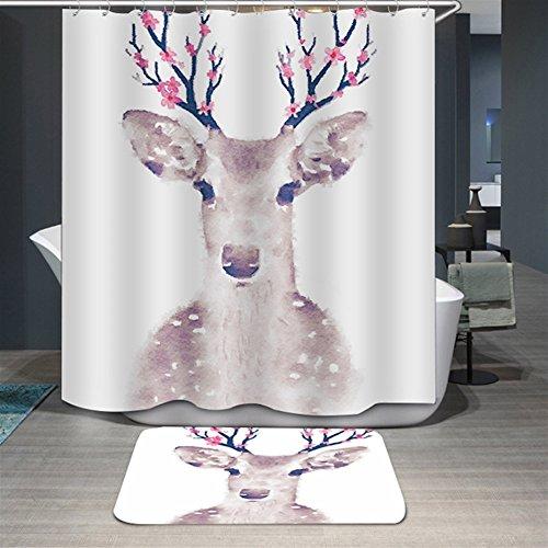 Ommda Duschvorhang Textil Wasserdicht Duschvorhang Anti-schimmel Digitaldruck Waschbar mit 12 Duschvorhang Ring 180x180cm(Keine Matten) Elch