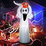 Chiachi Halloween Inflatable Pumpkin Blow Up White Ghost Doll,Spooky Lighted Ghost Doll with Lifting Inflatable Prop Decoration Pumpkin Yard Lawn Prop Decoration for Indoor Outdoor