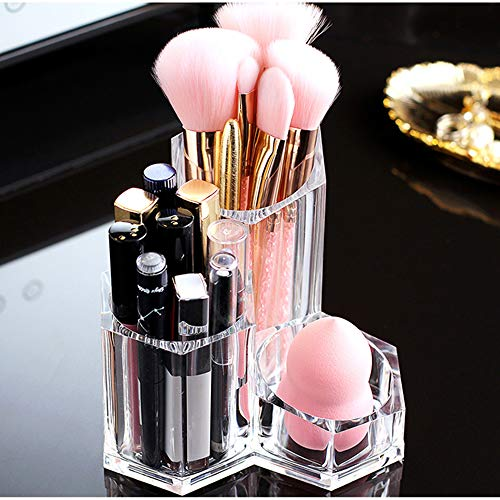 Make-up Veranstalter Pinselhalter 3 Abschnitte Acryl Kosmetik Aufbewahrungskoffer Ständer für Make-up, Zahnbürsten, Stift, Tupfer