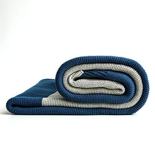 OMGPFR Llanura clásica Sofá Lanzar, Creatividad Aire Acondicionado Manta Algodón Tejido Suave Cubierta de Toalla Calentar Cómodo Agradable para la Piel Sencillez para Sala Casa Decoración,Azul