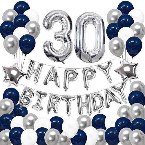 JinSu 30 Ans Anniversaire Ballons Décorations pour Garçon Homme, 68 Pcs Kit Happy Birthday Bannière, Argenté Ballon Numéro 30, Ballon Aluminium Helium à Étoile, Ballons en Latex