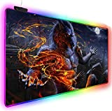 Mouse Pads Flame Werewolf Gaming RGB Mouse Pad Large Led Fashion Glow Big Mice Mat for Mac Pc Laptop Rubber Base Mouse Mat (15.7X31.5) Inch