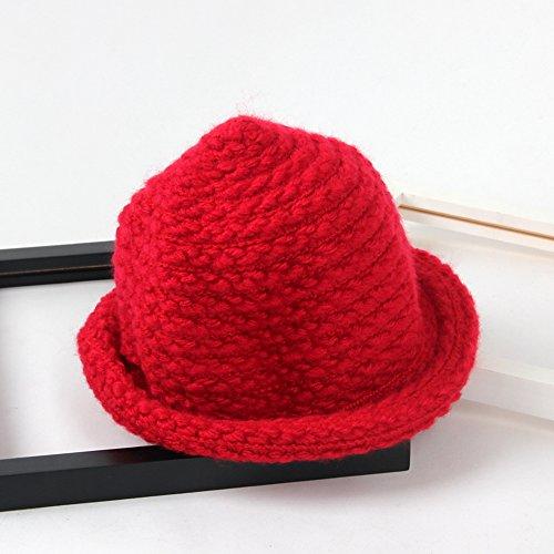 TININNA Automne et Hiver Chaud Mignon Crochet Tricoté Chapeau en Laine Roll Up Cap Chapeau Bonnet Casquettes Seau Capuche pour Bébé Filles Garçons Rouge