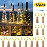 12 Stück LED Flaschenlicht, 2M 20 LEDs Flaschen Licht Warmweiß, Lichterkette Weinflasche Lichter mit Kork Schnurlicht für Party Weihnachten, Hochzeit oder Stimmung Lichter