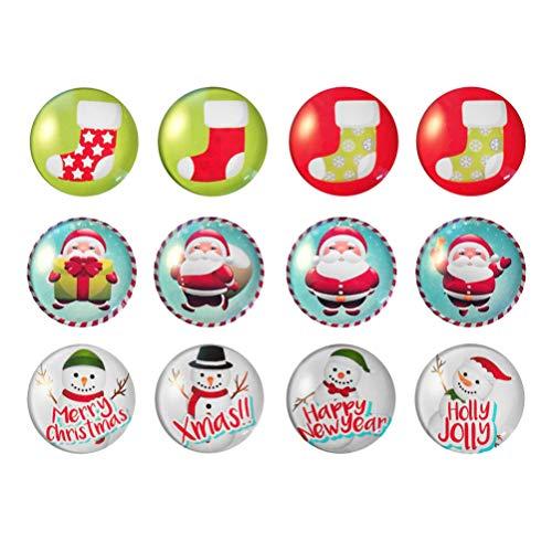 Cabilock 12 Piezas Imanes de Nevera de Navidad Imanes de Nevera de Vidrio Imanes de Pizarra de Oficina Decoración de Navidad Relleno de Favor de Fiesta (Patrón Aleatorio)