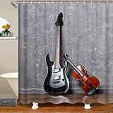 Loussiesd Cortina de ducha de guitarra para niñas y niños con temática de música, juego de cortina de ducha decorativa para violín musical, cortina de baño impermeable, 180 x 210 cm