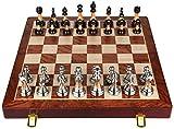HJTLK Ajedrez Juego de ajedrez Plegable de Madera Maciza con Almacenamiento Interno Piezas de ajedrez de Metal Brillante Tablero de ajedrez Juegos de ajedrez de Alto Grado Juego de ajedrez de Regalo