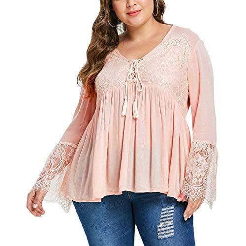 Damen Blusen Hemd Oberteile,Frauen Plus Size Einfarbig Lässiger V-Ausschnitt Spitze Nähen Ausgestelltes Hemd Mode Elegante Tops Pullover Sweatshirts Hemd Tee Tunika Bekleidung